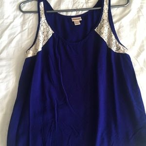Purple tank top with lace detail